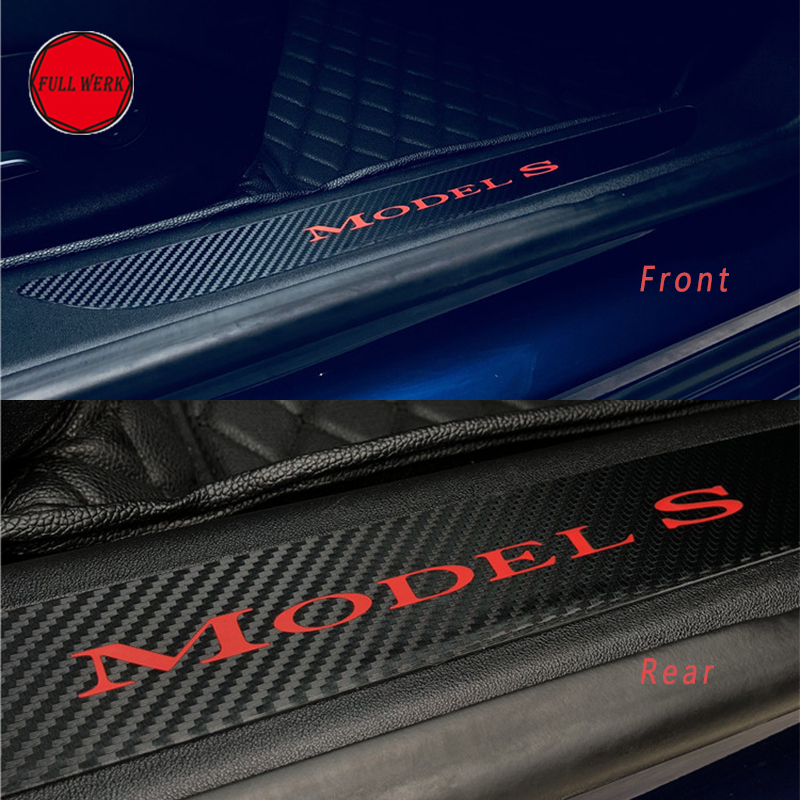 1 Set of 4pcs Door Sill Welcome Pedal Sticker Decor for Tesla Model S Interior Mouldings Protector Wrap Accessories 1pc car center console armrest box sticker decal wrap guard protector cover for tesla model s model x auto interior accessories