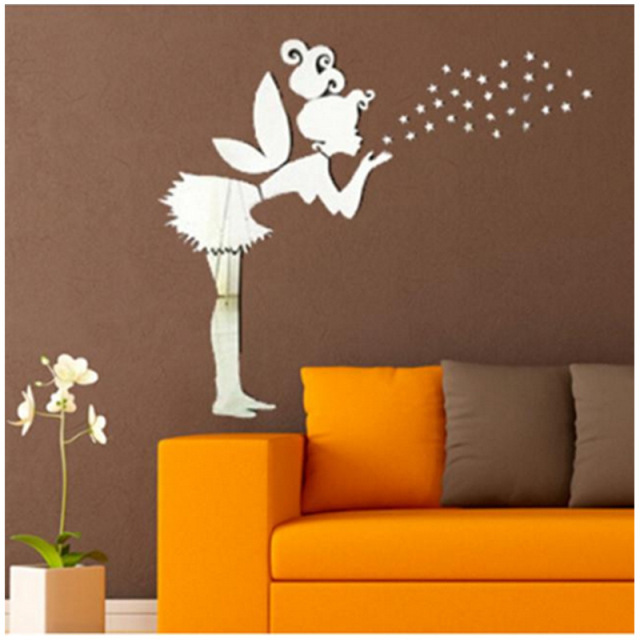 3D diy mirror wall stickers fairy girl blow stars vintage bedroom wall art  decor unique items