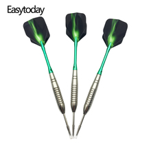 Easytoday 3Pcs/sets High Quality Steel Tip Darts Set Professional Throwing Games Metal Barrel Green Aluminum Darts Shafts Flight tatonka flight barrel
