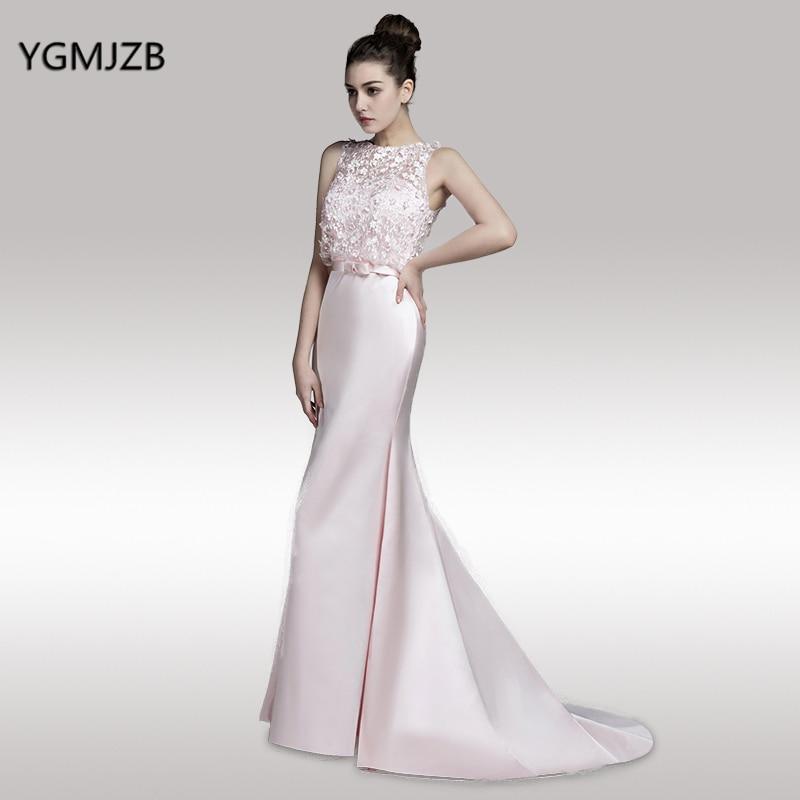 Long Mermaid Evening Dresses 2018 O Neck Sweep Train Prom Dress ...