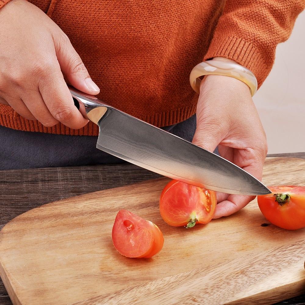 SUNNECKO 2 sztuk noże kuchenne zestaw Chef nóż do parowania japoński VG10 damaszek VG10 stali nierdzewnej ostre ostrze maszynki do golenia G10 uchwyt narzędzia do cięcia w Zestawy noży od Dom i ogród na  Grupa 3