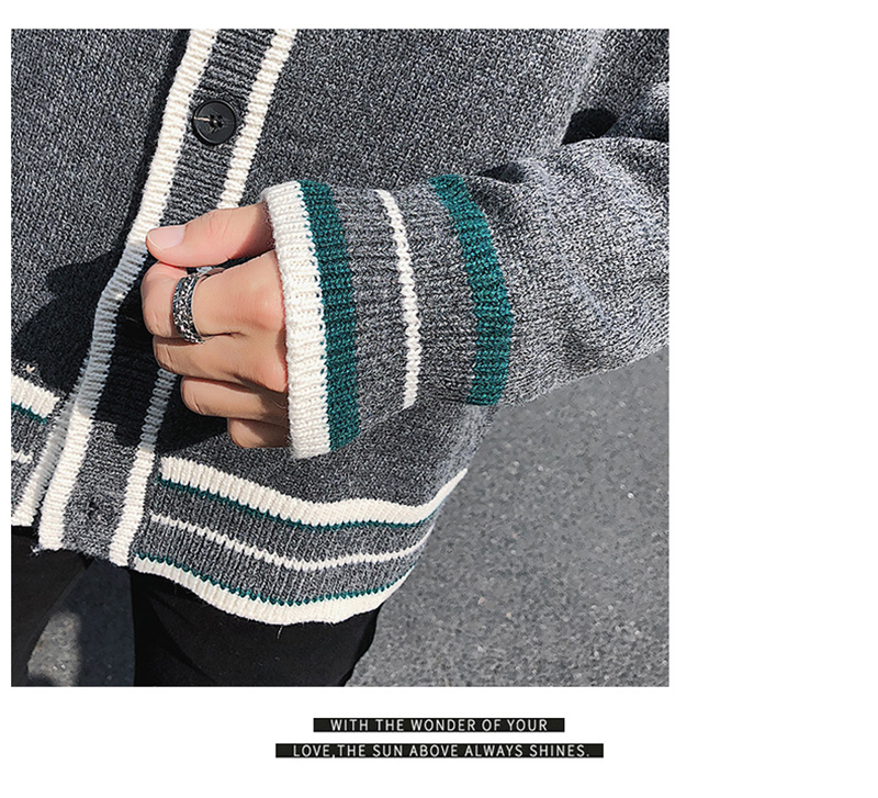 Check Button Cardigan Male Oversize Loose Streetwear (31)