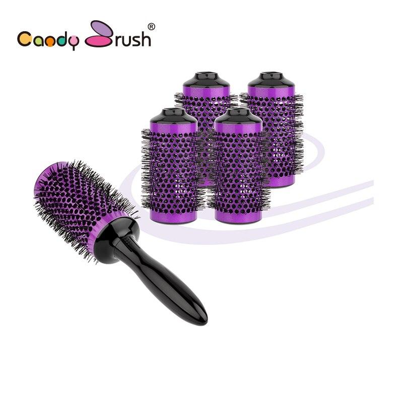 6 Rollers 1 Handle Aluminum Round Brush Set Barber Hair Salon Tools Hair Brush Diameter 55mm
