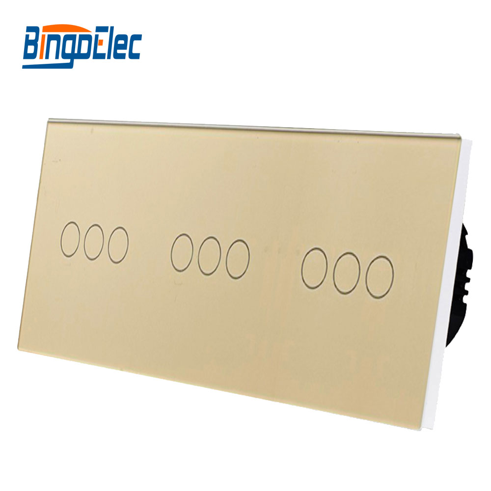 Bingo elec EU style touch switch Normal 9gang 1way crystal glass panel touch light switch AC110 250V Hot Sale in Switches from Lights Lighting