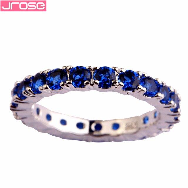 JROSE Wholesale Popular Green & Blue Quartz Silver Color Ring Size 6 7 8 9 10 11 12 13 Cocktail Party Women Couple Rings Gift