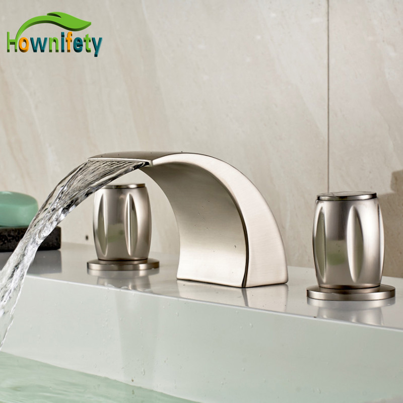 Nickel Brushed Widespread 3pcs Hole Bathroom Sink Faucet Double Handles Mixer Tap цена 2017