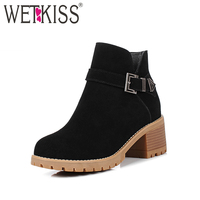 WETKISS Ankle Boots 2018 Thick High Heels Ladies Zipper Square Heel Round Toe Cow Suede Footwear