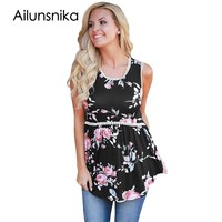 Ailunsnika 2017 Summer Sexy Women Fashion High Street Tank Black Floral Pompom Lace Trim Flowy Tank