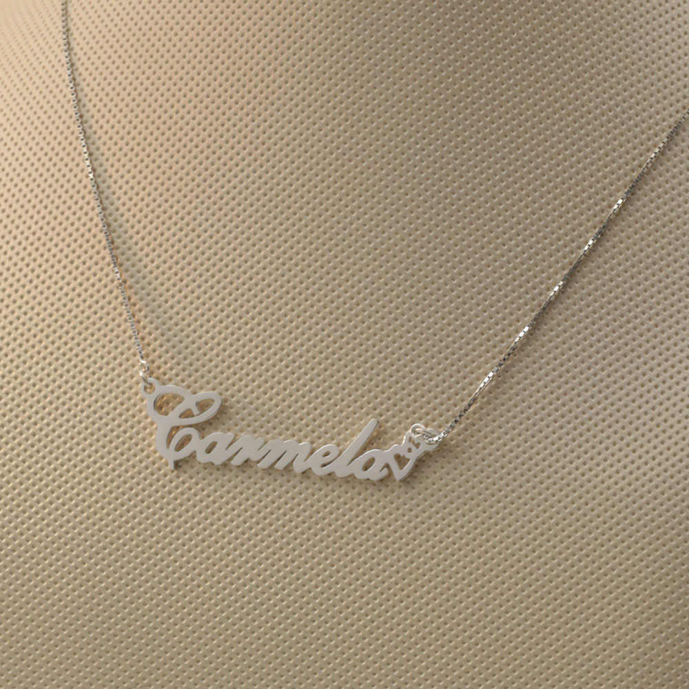 925 Solid Custom Name Necklace with Double Heart Custom Font Choose Nameplate Pendent Personalized Jewelry