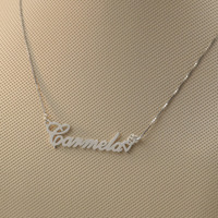 925 Sterling Silver Name Necklace With Double Heart Custom Font Choose Nameplate Pendent Personalized Jewelry