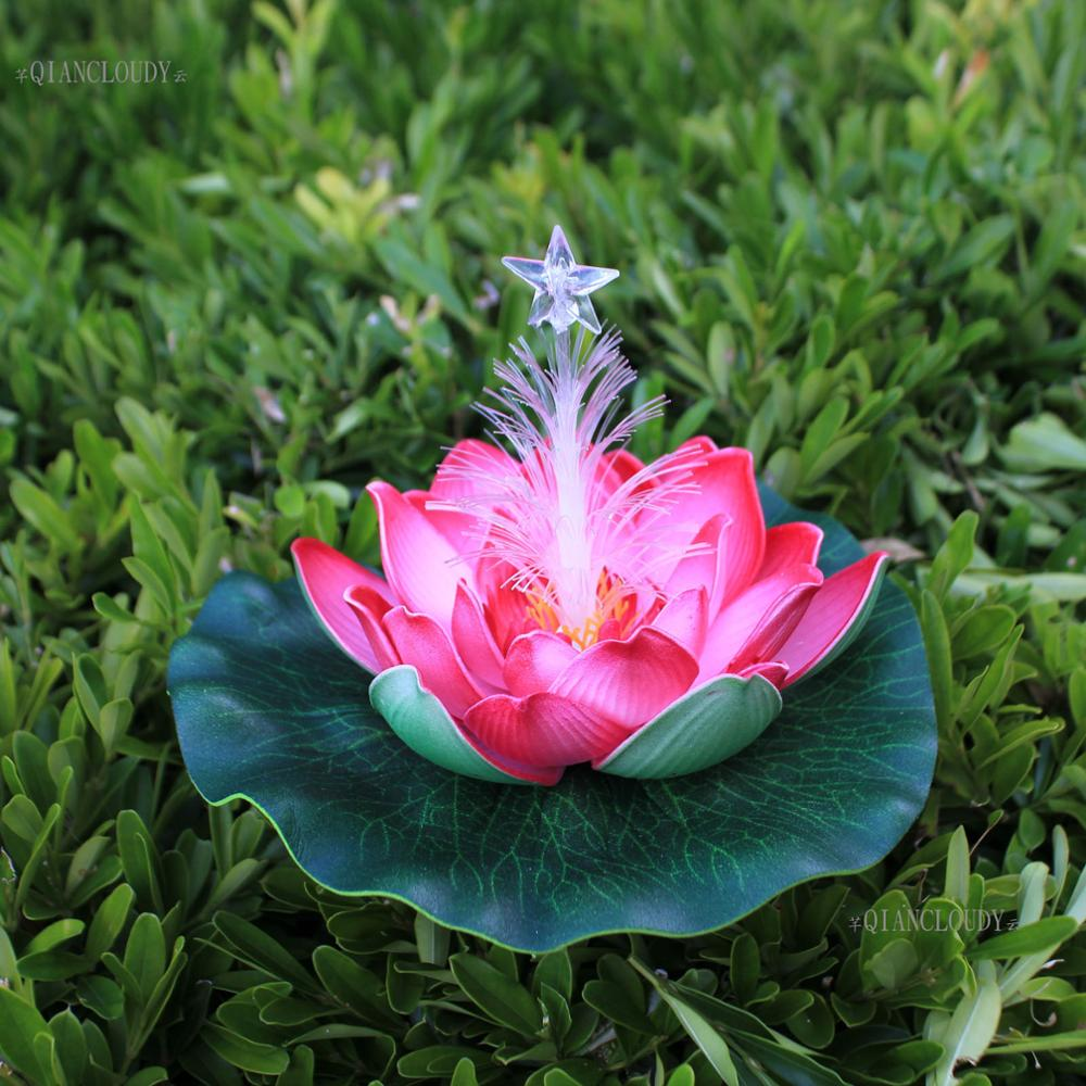 5 pieces Rose Artificial Led light fake pond Lotus leaf flowers Water Lily Floating Pool Plants wedding floral decoration C70