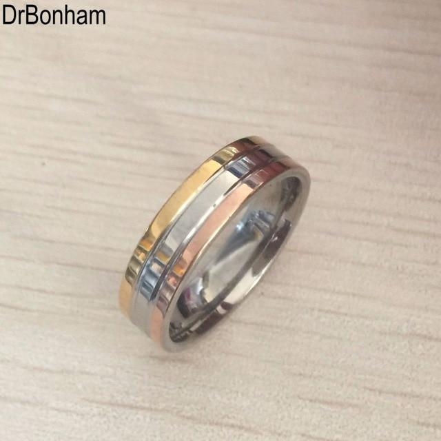 6aa3cb5bc7a8 Anti alergia 6mm 3 rondas línea Anillos de compromiso rosa de oro plata  color boda alianza