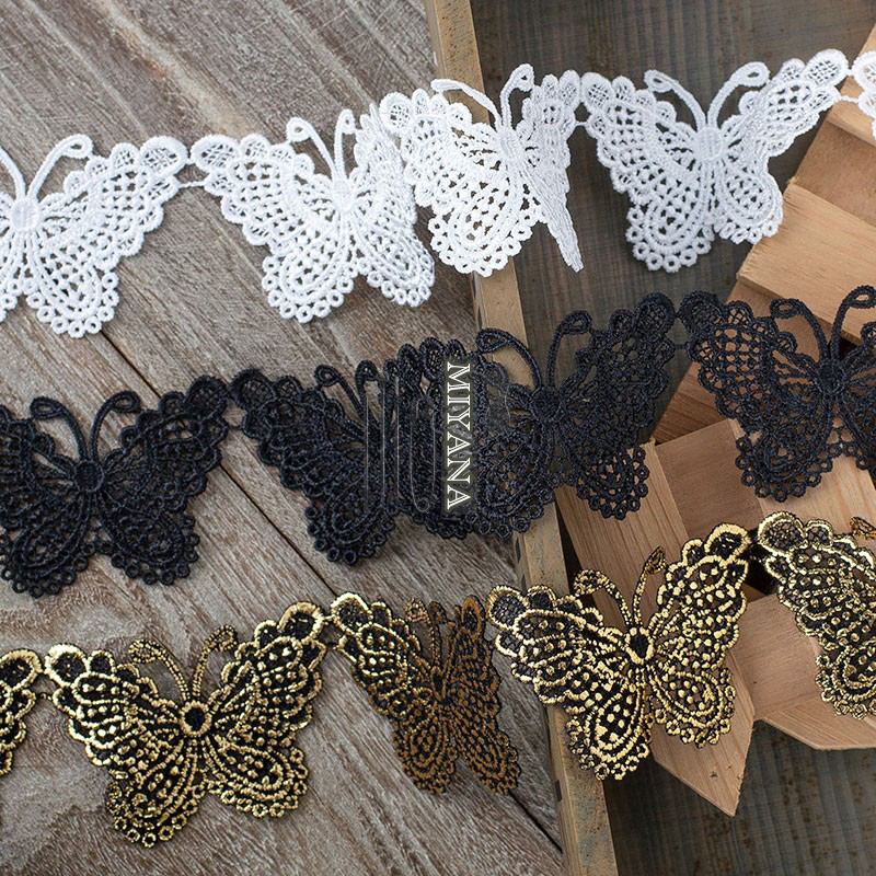 1yard/lot white/blank butterfly embroidered lace Trim Ribbon DIY Wedding Clothing Sewing Accessories sewing fabric