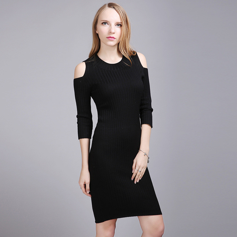2018 Autumn Winter Half Sleeve O Neck Women Knitted Dress Slim Sexy Cold Shoulder Warm Sweater Dress Black Bodycon Female Robe