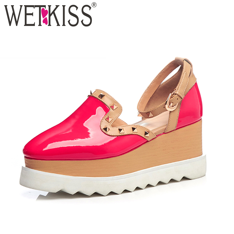 WETKISS 2018 Patent Leather Summer Women Sandals Wedges Rivet Footwear Fashion Casual Ankle Strap High Heels Girl Platform Shoes phyanic 2017 gladiator sandals gold silver shoes woman summer platform wedges glitters creepers casual women shoes phy3323