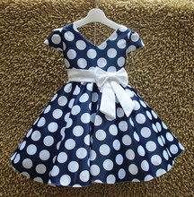 FASHION GIRL DOT PRINGTING V-NECK DRESSES WITH BOW BELT GIRL SUMMER DRESSES L616