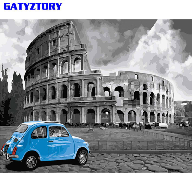GATYZTORY No Frame Rome DIY Painting By Numbers Landscape Vintage Wall Painting Acrylic Paint On Canvas For Living Room 40x50cm