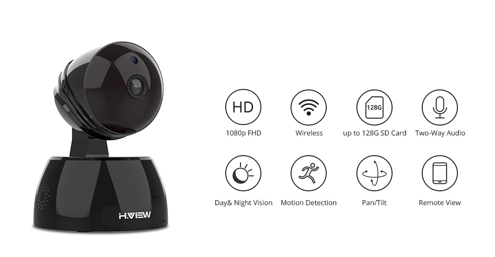 H.VIEW Wifi Camera 1080P H.264 IP Camera Wi-Fi Infrared Surveillance Cameras Two Way Audio IP Cameras Wifi (1)