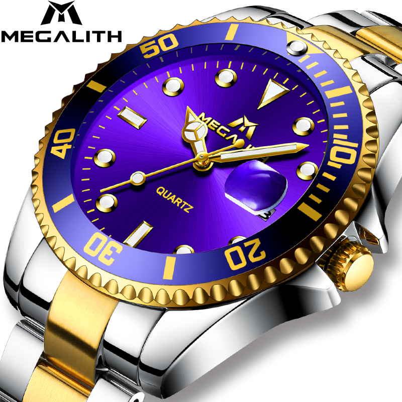 MEGALITH Gold Watch Men Top Brand Luxury Waterproof Calendar Wristwatch Gents Business Casual Stainless Steel Analogue Men Clock