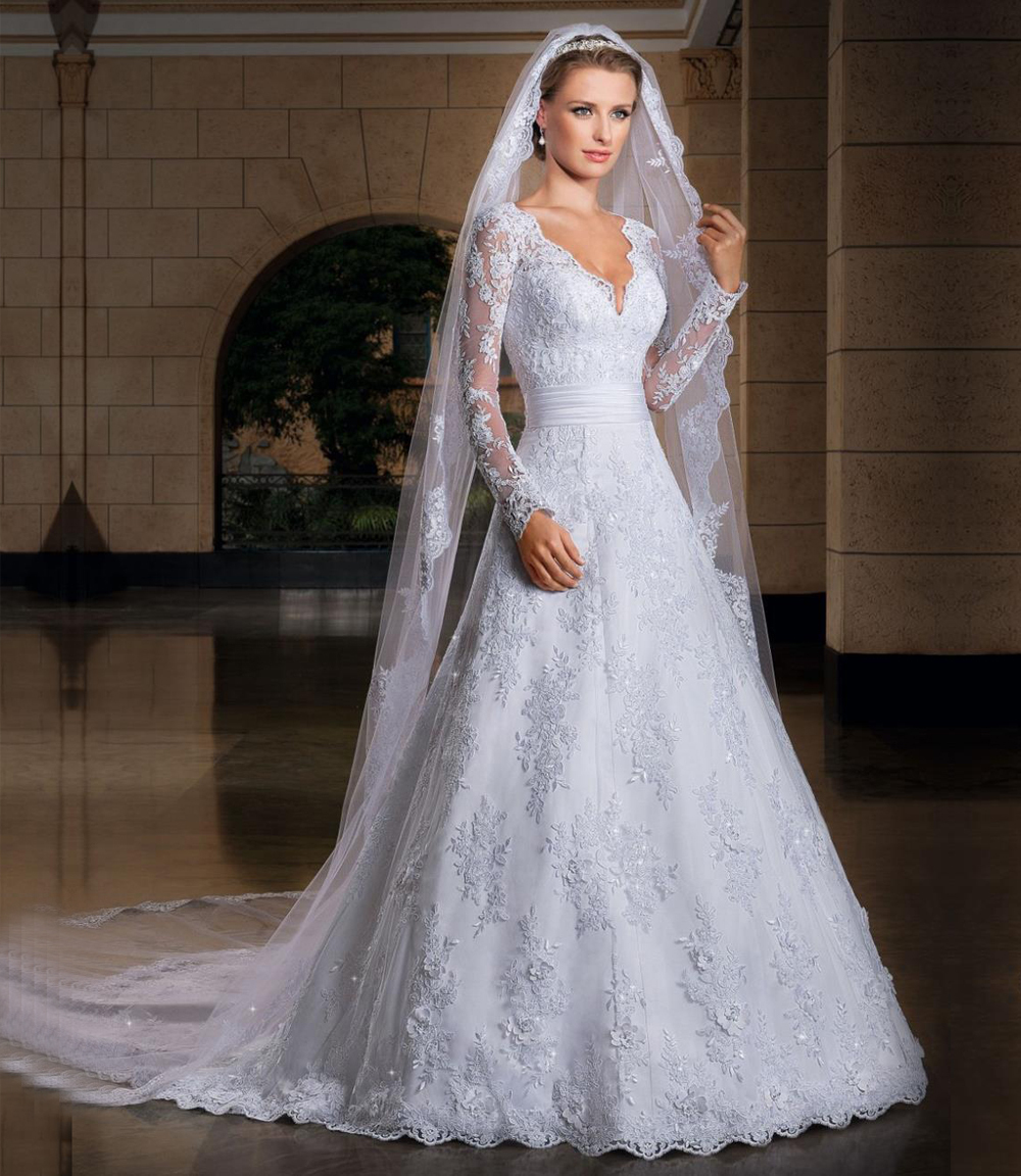 long sleeve wedding dress aliexpress com vestidos de noiva 2017 deep v neck applique designer