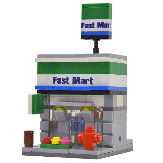 194pcs Hsanhe Legoings Fast Mart Mini Street View City 3d Retail Store Classic Figures Educational Building Block Toys For Kids