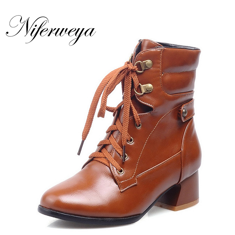 Big size 30-52 fashion women shoes autumn / winter PU leather low high heels Round Toe Lace-Up short Ankle boots HQW-A33 odetina fashion genuine leather ankle boots flat woman round toe platform lace up boots autumn winter casual shoes big size 43
