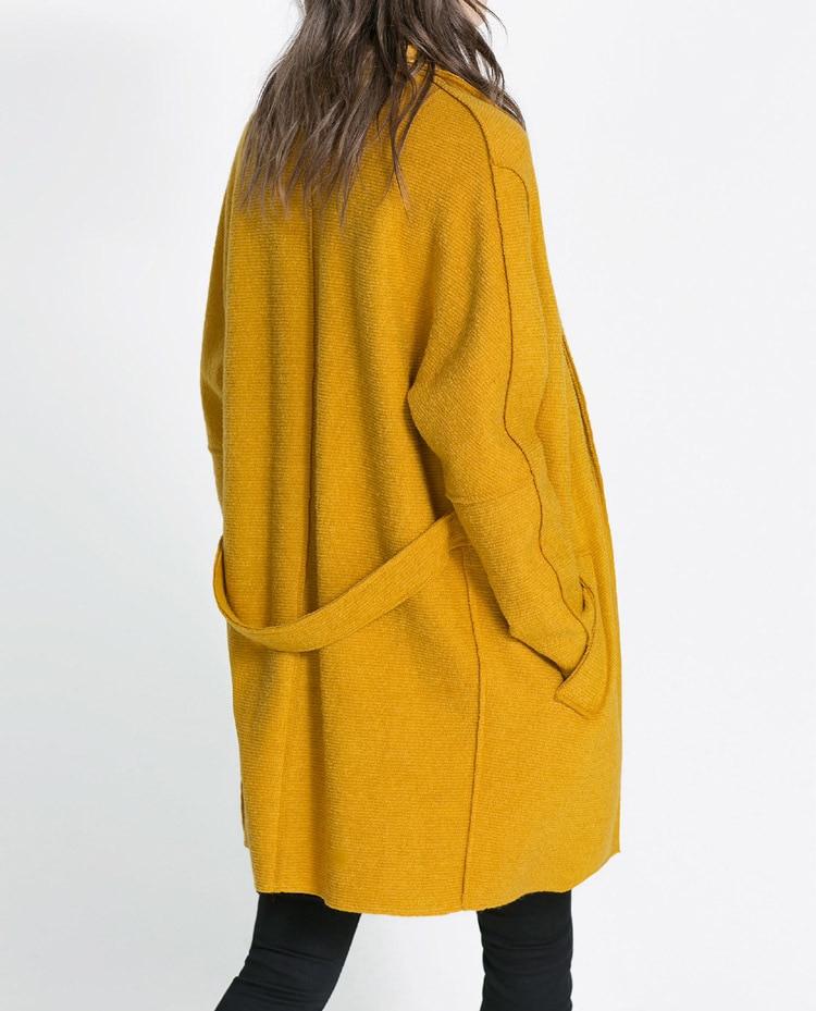 8bd1a2ec4 Women deduction mustard yellow color dream coat in wool tie belt ...