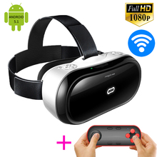 All In One 3D Android VR BOX Glasses M1 Virtual Reality Google Cardboard 1920*1080p Full HD Bluetooth WiFi Headset Helmet Case