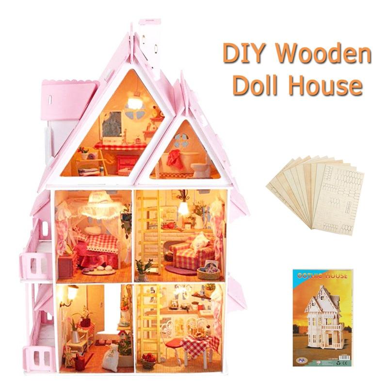 Новое поступление большой деревянный детский Кукольный дом Комплект для девочек играть Dollhouse особняк мебель игрушка для детей собрать Упра...