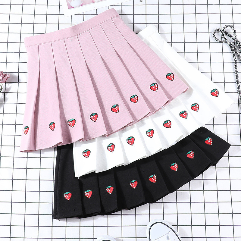 2019 New Autumn Skirts Women Harajuku Strawberry Embroidered Pleated Skirts Wide Elastic Waist Skirts Cotton Casual Sweet Skirts