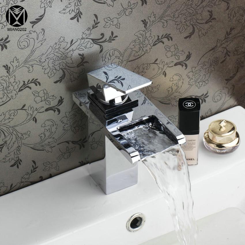 YANKSMART Bathroom High Qulity Waterfall Spout Hot/Cold Water Basin Tap Bath Kitchen Wash Basin Single Handle Sink Faucets Mix yanksmart bath