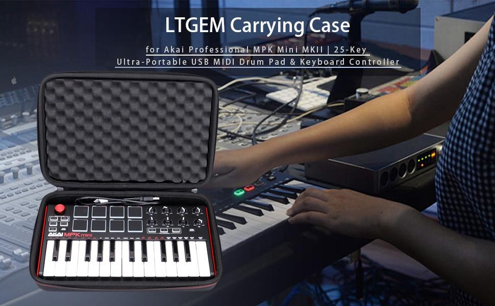 LTGEM Hard Carrying Case for Akai Professional MPK Mini MKII & MPK Mini  Play   25-Key USB MIDI Drum Pad & Keyboard Controller