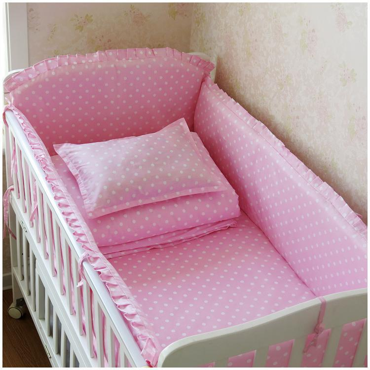 6PCS Baby Bedding Set Baby Product Toddler Baby Bed Linens Cotton Crib Bed Set Protetor De Berço (4bumper+sheet+pillow Cover)