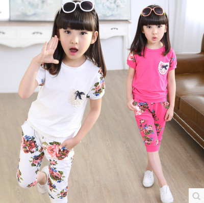 Kids girls short-sleeved suit 2017 new summer children's cotton casual T-shirt big virgin piece shorts girl clothes 3-15 years 2 цена 2016