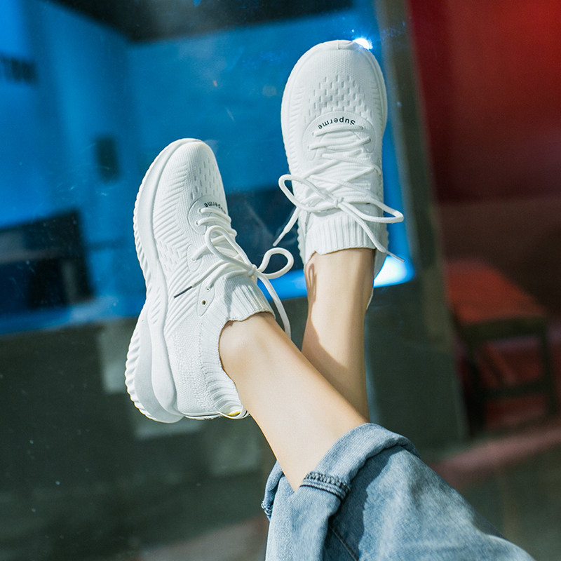 Women Casual Sports Shoes 2019 New Fashion Knit Breathable Mesh Shoes Women Lightweight flat Casual Shoes Quality Women Shoes in Women 39 s Flats from Shoes