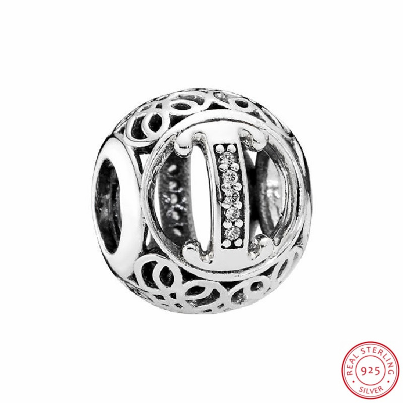 Shimmering Silver 925 Capital I beads in Vintage inspired