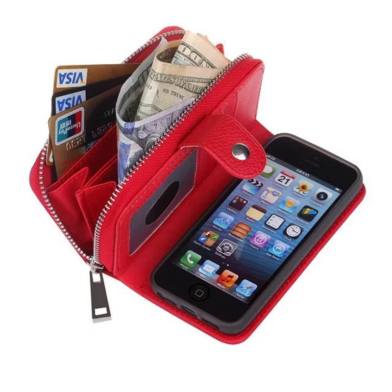 Luxury Handbag Zipper Wallet Case For Iphone 5 5S SE