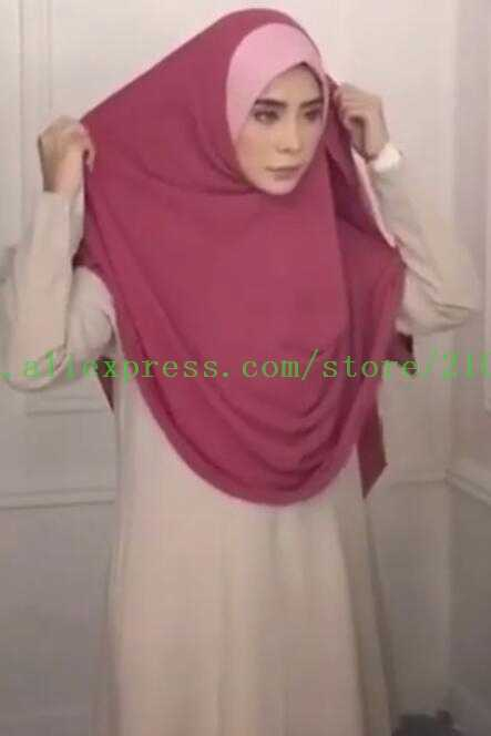 one piece NEW Muslim Headscarf Malaysia Convenient Senior Chiffon Summer Instant HIJAB TWO ROUND DESIGN Can choose colors