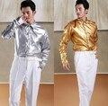 Горячая! Бесплатная доставка мужская серебро золотой театральный вечернее светло-самолет рубашка сцене Большой размер костюмы clothig / S-XXXL