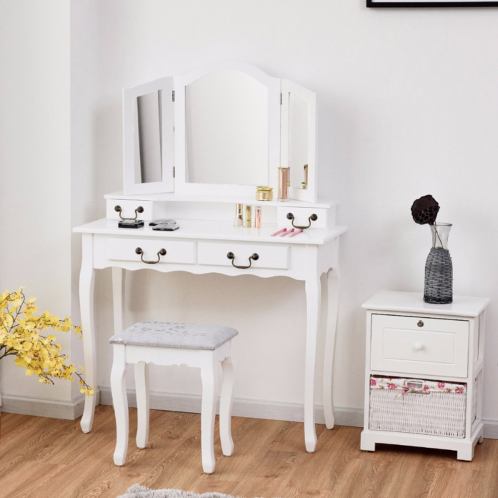 Giantex Vanity Set Makeup Dressing Table Tri Folding Mirror Black Stool 4 Drawers Home Furniture HW59006BK giantex wood makeup dressing table stool set jewelry desk drawer mirror black home furniture hw52951bk