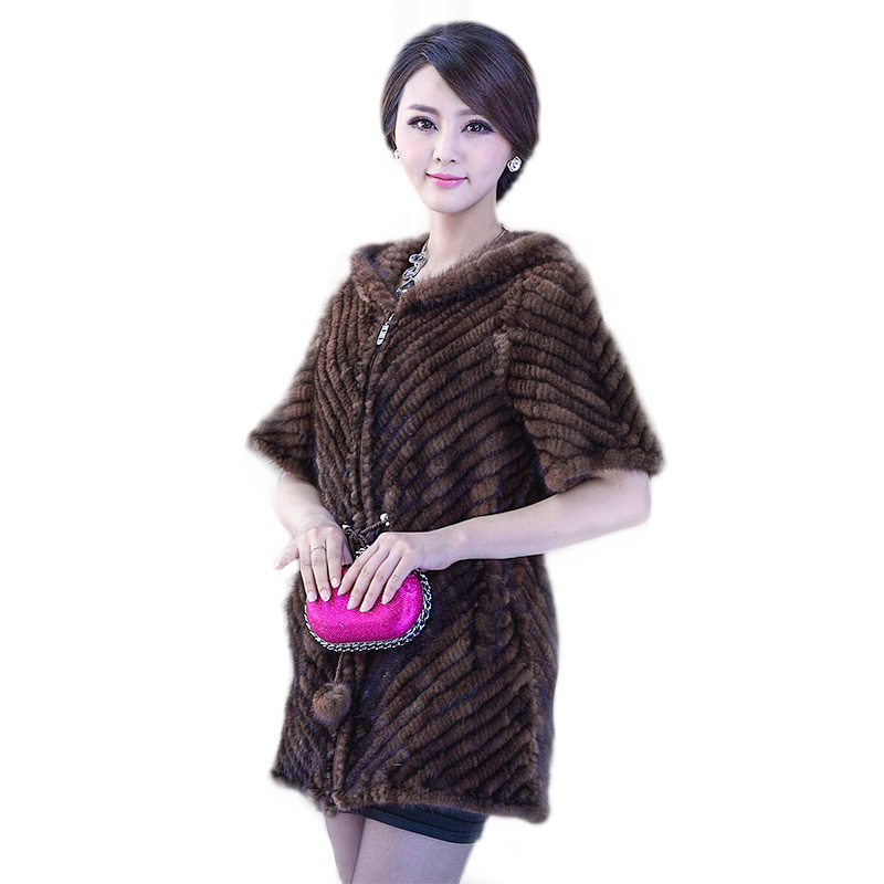 New Fashion Real Genuine Fur Natural Knitted Mink Coat Women Outerwear Coats Jackets Winter Knitting Clothes