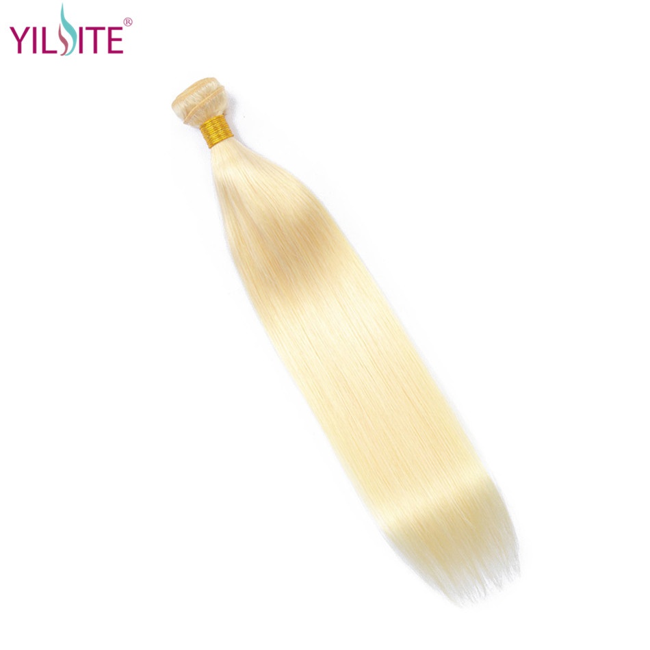 Yilite 613 loira em linha reta 100% pacotes de cabelo humano 1 pçs mel loira pacotes peruano remy tecer cabelo 100% tecer cabelo humano tecelagem