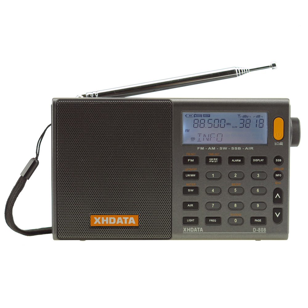 XHDATA D-808 Portable Digital Radio FM stereo/SW/MW/LW SSB AIR RDS Multi Band 2pcs tivdio v 111 portable fm radio dsp fm stereo mw sw lw portable radio full band world receiver clock 9khz 10khz radio fm