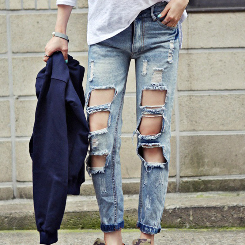 ac7ffa45899 2018 New Fashion Summer Style Women Jeans ripped Holes Loose Pants Jeans  Slim vintage boyfriend jeans for women-in Jeans from Women s Clothing on ...