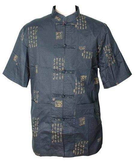 High Fashion preto homens chineses de cetim de seda camisa camisa Kung Fu tradicional mandarim colarinho Top Plus Size XXXL MS016