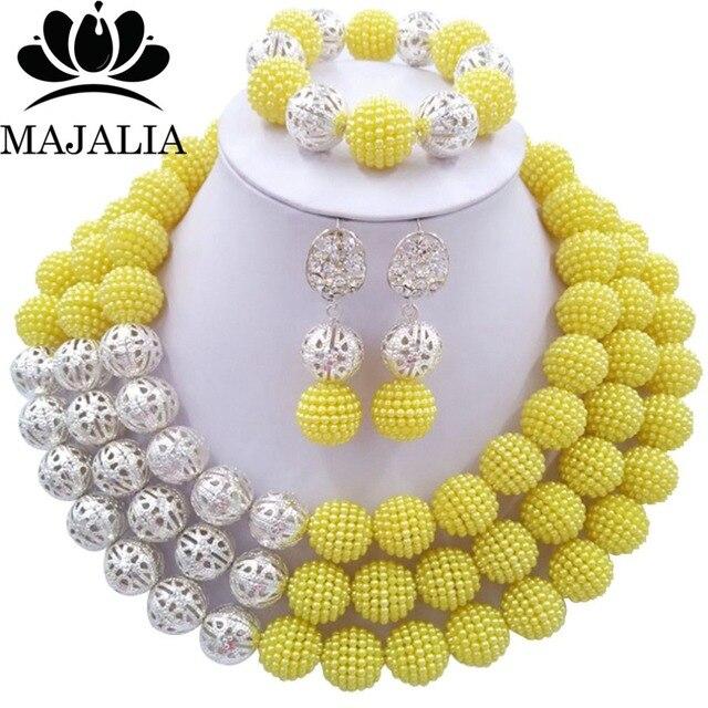 36ab1d812563 Conocida majalia moda nigeriana boda Africana joyería Set cristal amarillo  collar de perlas de plástico novia