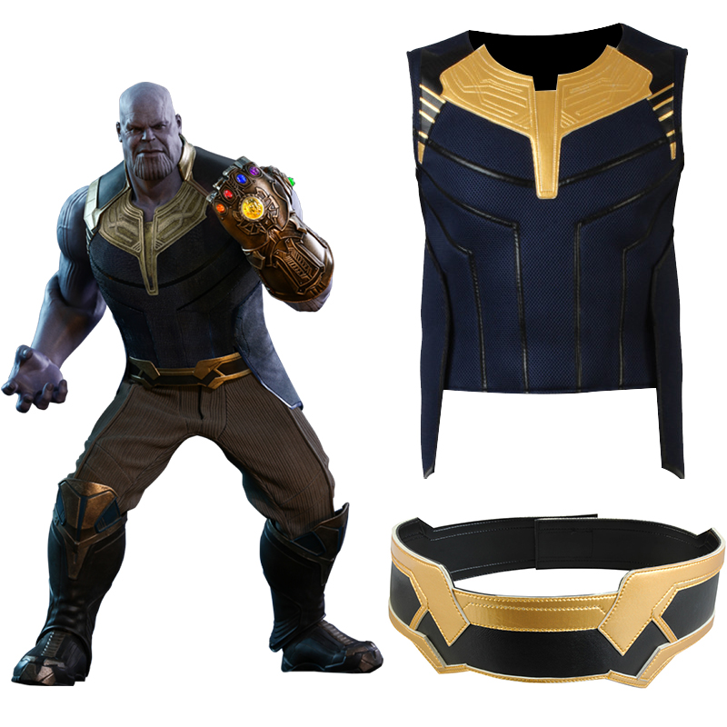 Avengers Infinity War Thanos Cosplay Costume Top Pants Belt Shoulderwear Gaiter Glove Halloween Accessories Props Adult Men