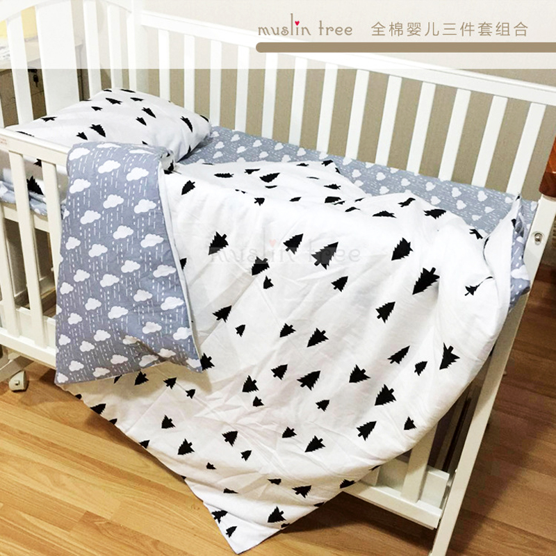 free shipping cotton Lightning cloud pattern baby crib bedding set include pillowcase + bed sheet + duvet cover without filler chic tropical plants and toucan pattern flax pillowcase without pillow inner