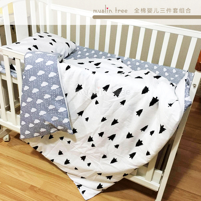Free Shipping Cotton Lightning Cloud Pattern Baby Crib Bedding Set Include Pillowcase Bed Sheet