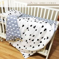 free shipping cotton Lightning cloud pattern baby crib bedding set include pillowcase + bed sheet + duvet cover without filler